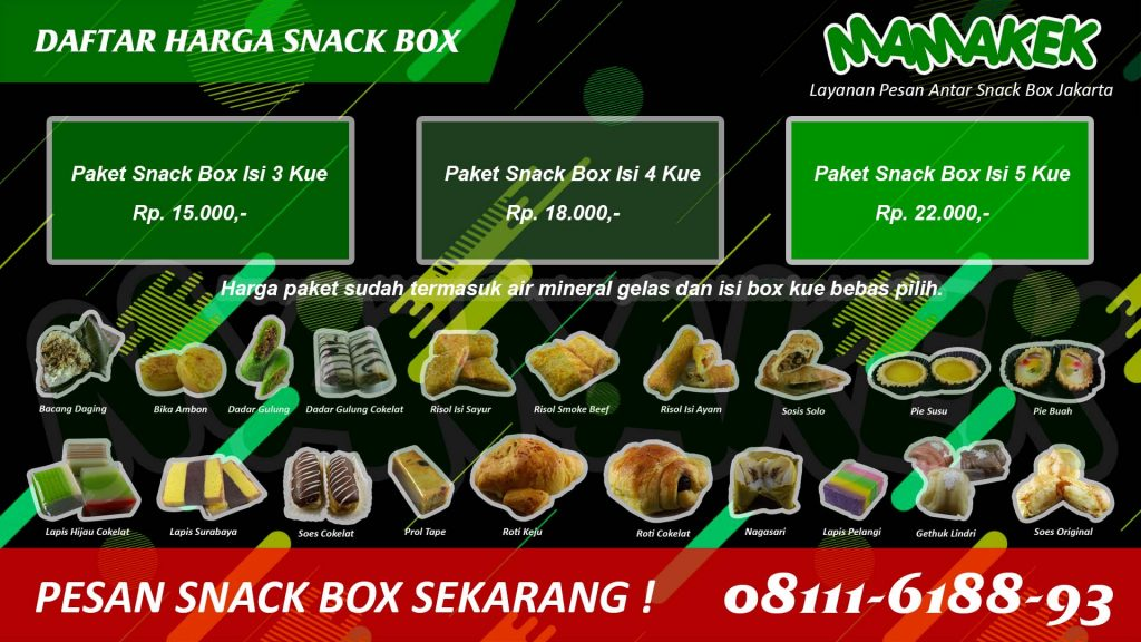 Daftar Harga Snack Box Jakarta Mamakek Antar Tepat Waktu
